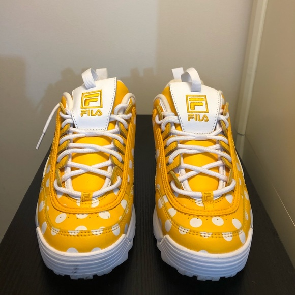Yellow Polka Dot Fila Sneakers | Poshmark